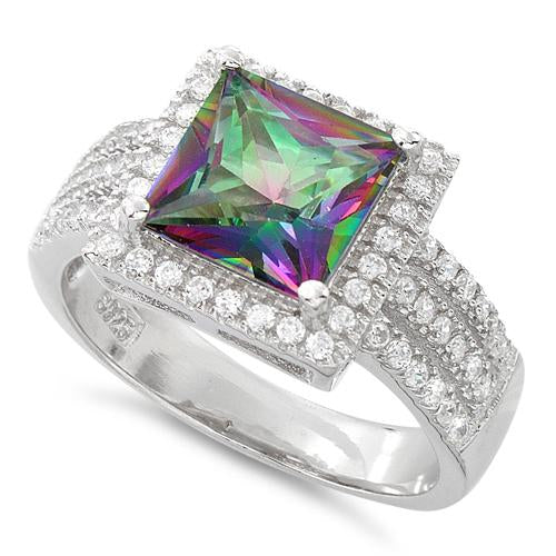 Sterling Silver Rainbow Topaz Princess Cut CZ Ring
