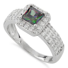 Load image into Gallery viewer, Sterling Silver Rainbow Topaz Princess Cut Pave CZ Ring