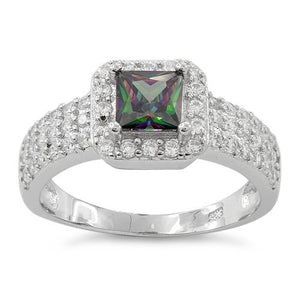 Sterling Silver Rainbow Topaz Princess Cut Pave CZ Ring