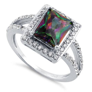 Sterling Silver Rainbow Topaz Rectangular Halo CZ Ring