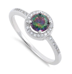 Sterling Silver Rainbow Topaz Round CZ Halo Ring