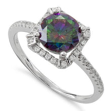 Load image into Gallery viewer, Sterling Silver Rainbow Topaz Round Halo Pave CZ Ring