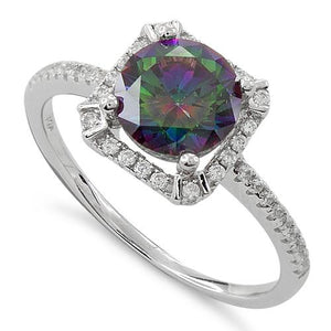 Sterling Silver Rainbow Topaz Round Halo Pave CZ Ring