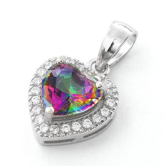 Sterling Silver Rainbow Topaz Small Heart CZ Pendant