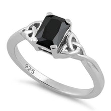 Load image into Gallery viewer, Sterling Silver Rectangle Black Celtic CZ Ring