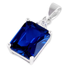 Load image into Gallery viewer, Sterling Silver Rectangular Blue Sapphire CZ Pendant