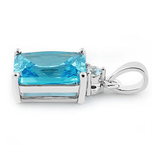 Load image into Gallery viewer, Sterling Silver Rectangular Blue Topaz CZ Pendant