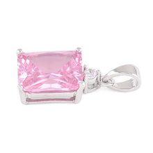 Load image into Gallery viewer, Sterling Silver Rectangular Pink CZ Pendant