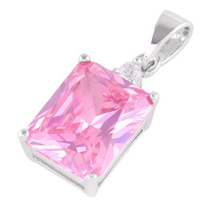 Sterling Silver Rectangular Pink CZ Pendant