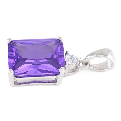 Sterling Silver Rectangular Purple CZ Pendant