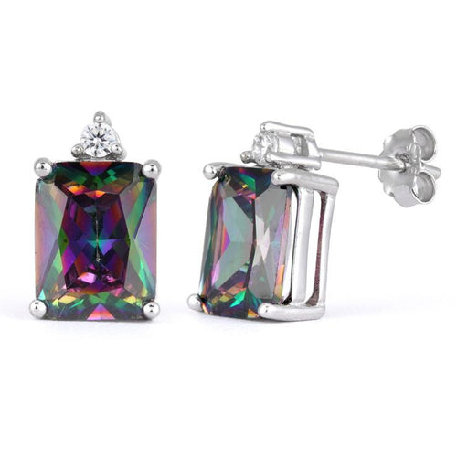 Sterling Silver Rectangular Rainbow Topaz CZ Earrings