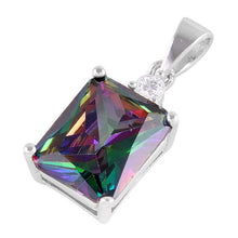 Load image into Gallery viewer, Sterling Silver Rectangular Rainbow Topaz CZ Pendant