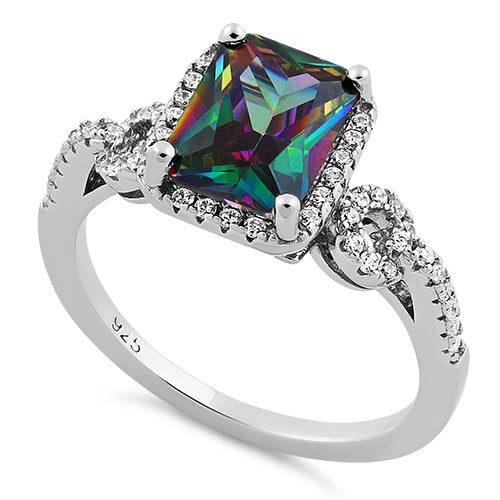 Sterling Silver Rectangular Shape Rainbow Topaz CZ Ring
