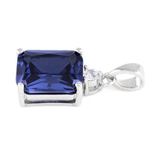 Load image into Gallery viewer, Sterling Silver Rectangular Tanzanite CZ Pendant