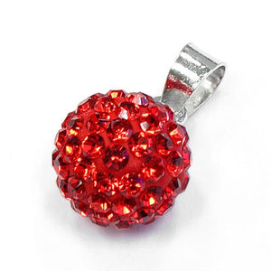 Sterling Silver Red CZ Ball Pendant