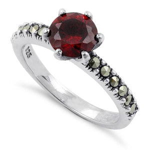 Sterling Silver Red CZ Marcasite Ring