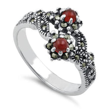 Load image into Gallery viewer, Sterling Silver Red Agate Double Flower Marcasite Ring