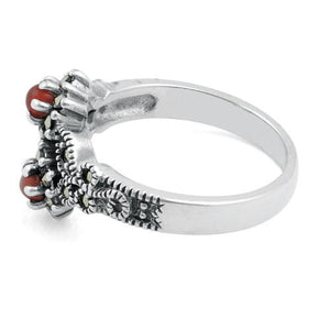 Sterling Silver Red Agate Double Flower Marcasite Ring