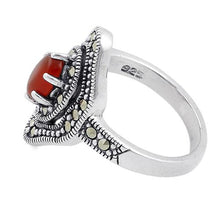 Load image into Gallery viewer, Sterling Silver Red Agate Eye Marcasite Ring