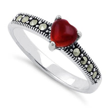 Load image into Gallery viewer, Sterling Silver Red Agate Heart Marcasite Ring