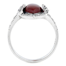 Load image into Gallery viewer, Sterling Silver Red Agate Marquise Marcasite Ring