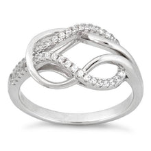 Load image into Gallery viewer, Sterling Silver Reef Knot CZ Ring