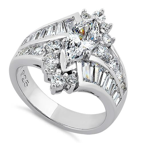 Sterling Silver Reflection Marquise Cut Clear CZ Engagement Ring