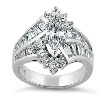 Load image into Gallery viewer, Sterling Silver Reflection Marquise Cut Clear CZ Engagement Ring