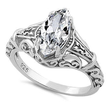 Load image into Gallery viewer, Sterling Silver Regal Marquise Cut Engagement CZ Ring