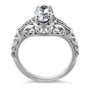Sterling Silver Regal Marquise Cut Engagement CZ Ring