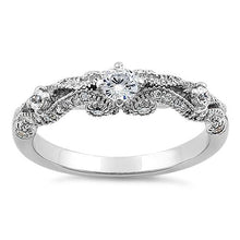 Load image into Gallery viewer, Sterling Silver Regal Round Cut Clear CZ Engagement Ring