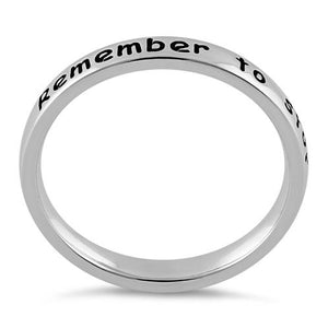 "Sterling Silver ""Remember to stop and smell the roses"" Ring"