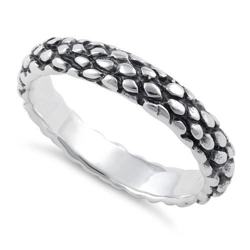 Sterling Silver Reptile Skin Band Ring