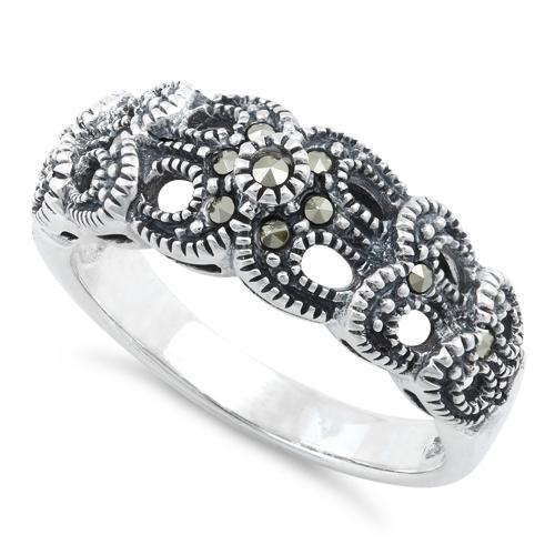Sterling Silver Ribbons Marcasite Ring