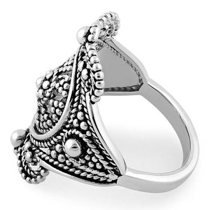 Sterling Silver Rope Beaded Ring
