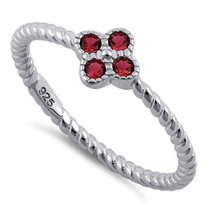 Sterling Silver Rope Flower Garnet CZ Ring