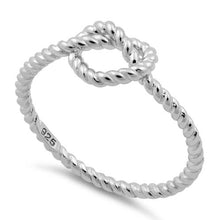 Load image into Gallery viewer, Sterling Silver Rope Heart Knot Shape Ring