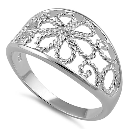 Sterling Silver Rope Shaped Flower Ring