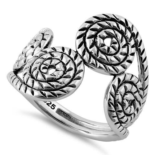Sterling Silver Rope Swirls Ring