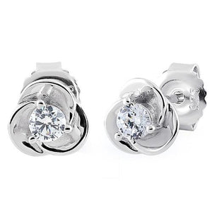 Sterling Silver Rose Clear CZ Earrings