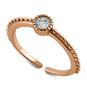 Sterling Silver Rose Gold CZ Toe Ring