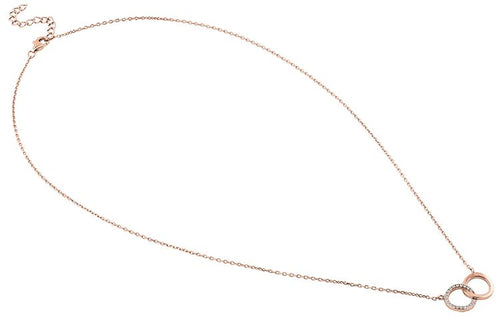 Sterling Silver Rose Gold Double Link Circles CZ Necklace