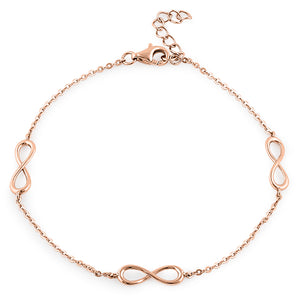Sterling Silver Rose Gold Plated Triple Infinity Bracelet