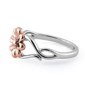 Sterling Silver Rose Gold Two Tone Daisy Flower Ring