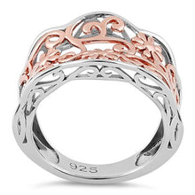 Load image into Gallery viewer, Sterling Silver Rose Gold Two Tone Flowers Ring