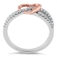 Load image into Gallery viewer, Sterling Silver Rose Gold Two Tone Heart CZ Ring