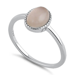 Sterling Silver Rose Quartz Oval Stone Ring