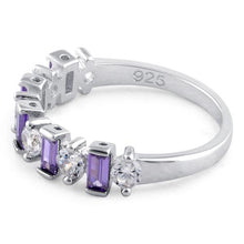 Load image into Gallery viewer, Sterling Silver Round & Baguette Amethyst CZ Ring