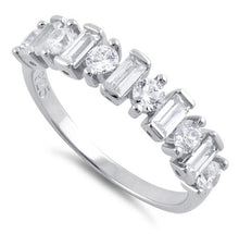 Load image into Gallery viewer, Sterling Silver Round & Baguette Clear CZ Ring