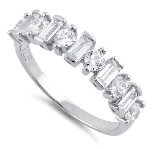 Sterling Silver Round & Baguette Clear CZ Ring
